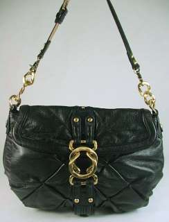 Steve Madden Ella Leather Medium Flap Hobo Bag Purse Black