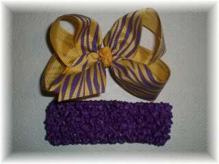 LSU Purple and Gold Tiger Baby Hair Bow & Headband SET