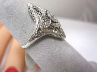 ANTIQUE VINTAGE ART DECO DIAMOND DETAILED 18K WHITE GOLD FILIGREE