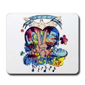 Mousepad (Mouse Pad) Peace Love Music   Peace Symbol Sign