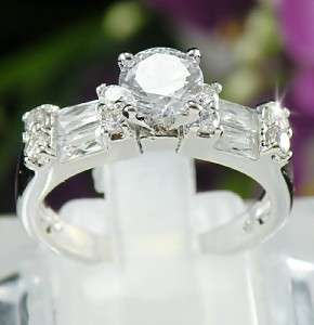 6mm Cubic Zirconia 18K White Gold Plated Engagement Ring Size 7 R223