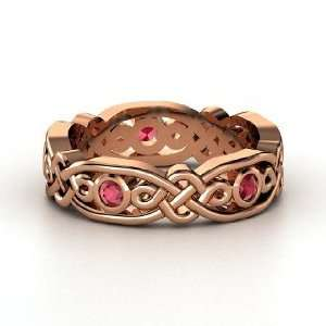 Brilliant Alhambra Band, 18K Rose Gold Ring with Ruby Jewelry