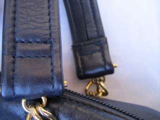 Navy Blue Leather Tignanello Handbag Purse Chain Handle Satchel Bag
