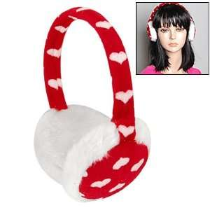 Allegra K Ladies Plush Coated Rim Heart Print Earmuffs