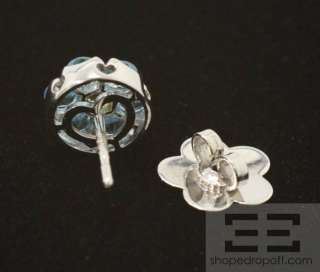 Bruni 18K White Gold Blue Topaz & Peridot Floral Stud Earrings