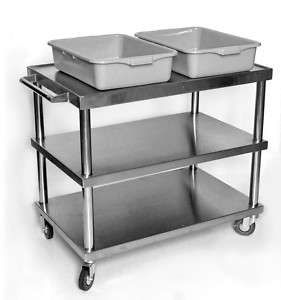 All Stainless Steel Large Rolling Utility/Bus Cart NSF