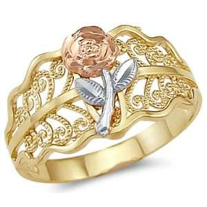 14k Yellow Tri Color Gold Ladies Flower Rose Leaf Ring Jewelry