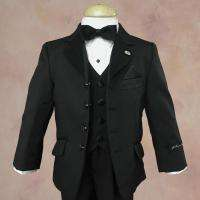 Johnnie Lene Boy Black Kids Tuxedo Dress Suit Set Size