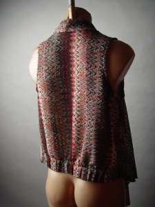 RETRO Zig Zag Loose Knit Crochet Lace Vtg y 70s Boho Draping Open