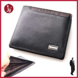New Mens Bifold Leather Wallet   Zipper Pocket   Black