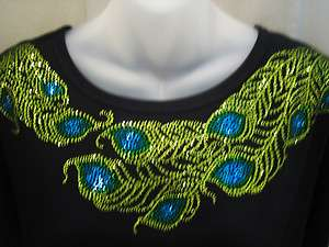 PEACOCK FEATHER Scoop Neckline Top~ Sparkle Bling Shirt