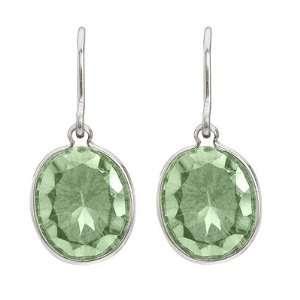 Bezel Oval Green Amethyst Wire Drop Earrings 14k White