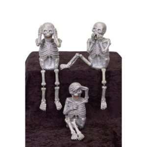 Pack of 6 Speak/See/Hear No Evil Halloween Skeleton Figures 12