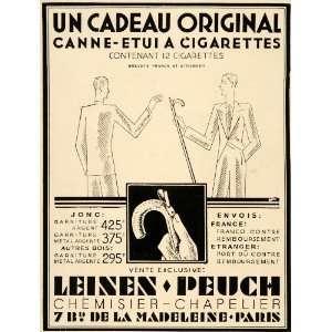 1929 Ad French Novelty Cane Cigarette Case Art Deco