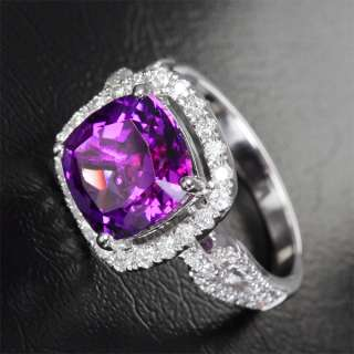32ct VVS Amethyst & Diamond 14K White Gold Ring 4.43g