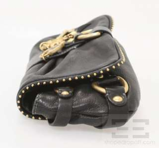 Juicy Couture Black Leather & Gold Charm Fold Over Clutch Handbag