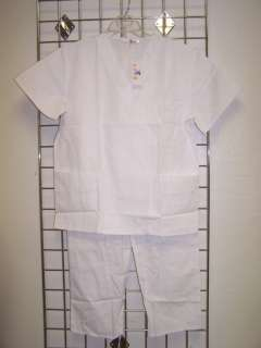 NWT Nurses WHITE Medical Uniform Unisex V Neck SCRUB SET XS 3XL