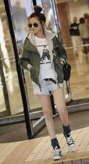 New Korean fashion women casual outwear jacket hoodies green