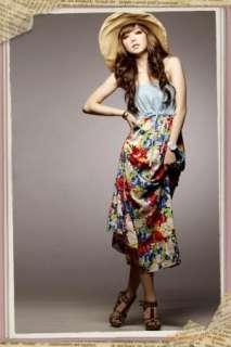 Womens Boho Floral Print Strapless Summer Dress 5568#
