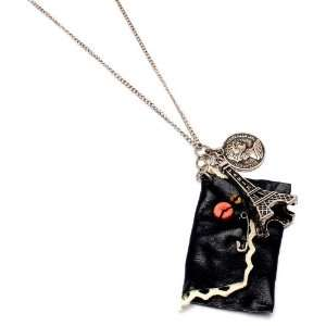 Paris Eiffel Tower Charm with Black Mini Wallet Antique Design Fashion