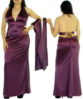 WOMANS PLUS SIZE SEXY PLUM FORMAL PARTY GOWN 1XL 14/16