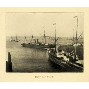 1901 Print Navy Bay Colon Military Ships Masts Water