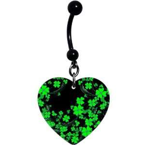 Heart Black Green Four Leaf Clover Belly Ring Jewelry
