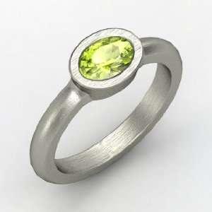 Byzantium Ring, Oval Peridot Platinum Ring Jewelry