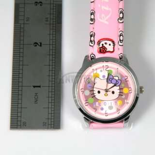 Pink cute lovely colorful Hellokitty Quartz Wrist Watch Kids Children