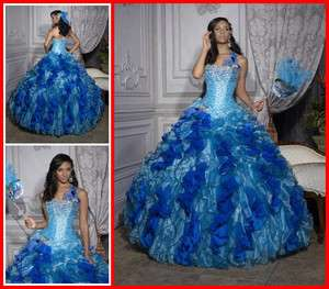 Blue Quinceanera Wedding dress Bridal Bridesmaid Gown/Prom Ball