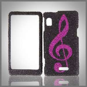 Pink Music Note on Black Cristalina crystal bling case