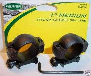 Weaver 1 Med Black Matte Rifle Scope Mount Rings 96 0 76683 49196 1