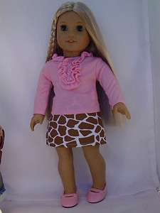 Doll Clothes Pink Shirt Giraffe Print Skirt Pink Shoes fit American