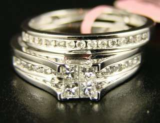 LADY BRIDAL ENGAGEMENT DIAMOND DUO RING BAND SET 1.0 CT