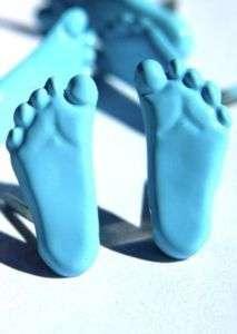Blue FEET BRADS Scrapbooking Stamping Baby Boy