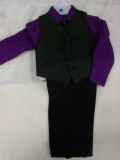new boy purple shirt vest tie pants set 1 yr 2t 3t birthday party