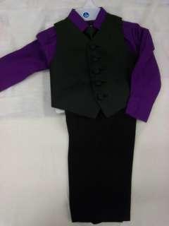 new boy purple shirt vest tie pants set 1 yr 2t 3t birthday party