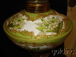 Great 19th C.Sevres Floral Enameled Kerosene Banquet Lamp N/R