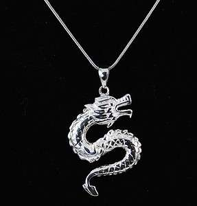 Quality 925 Sterling Silver Flying Dragon Pendant Necklace jewellery