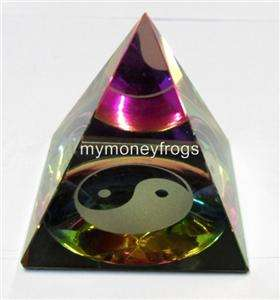 Chinese Feng Shui Ying Yang Crystal Clear Pyramid REIKI