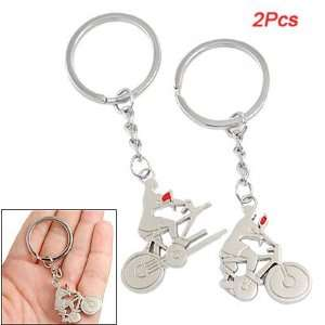 Como Lovers Silver Tone Tandem Bicycle Riders Pendant