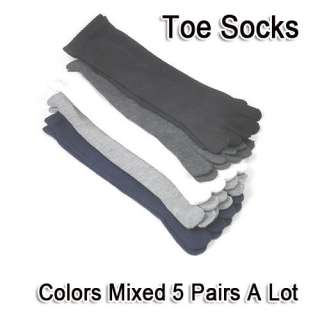 Wholesale 5Pcs Colors Mens Cotton Five Fingers Toe Socks Stockings