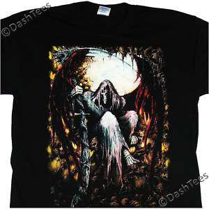 GRIM REAPER RED WINGS SKULLS MOON GOTHIC NEW T SHIRT
