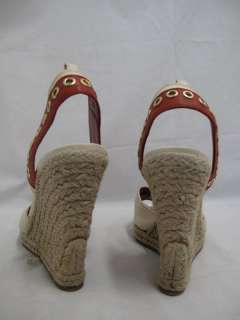 Yves Saint Laurent Beige Canvas/Burnt Orange Leather Espadrille Wedges