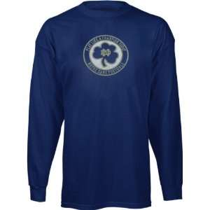 Fighting Irish Navy Lucky Token Long Sleeve T Shirt