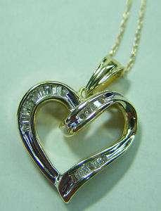 Diamond Heart Pendant. Baguette Open Heart w/ Chain.10K