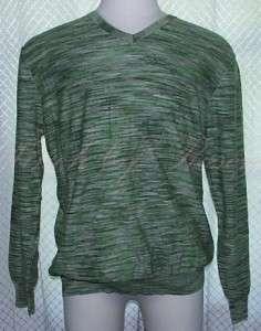 Perry Ellis Mens Cotton Space Dye Long Sleeve V Neck Sweater Shirt