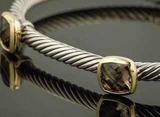 David Yurman 18K Yellow Gold Sterling Silver Smoky Quartz Noblesse