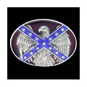 Pewter Belt Buckle   Confederate Flag & Eagle:  Sports