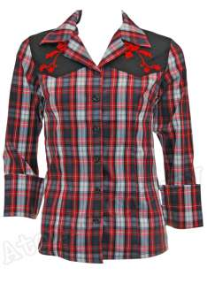 Rock Shirt Checkered Rockabilly Western Plaid Swallow Tattoo Punk Cool